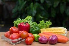 Variedade de legumes frescos na tabela de madeira foto de stock royalty free