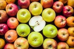 Variedade de maçãs coloridas frescas Foto de Stock