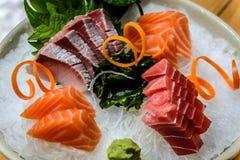 Variedade de Moriawase 3 Shu Sashimi Fotografia de Stock Royalty Free