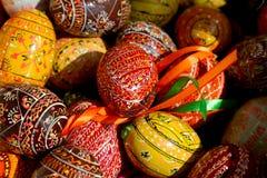Variedade de ovos da páscoa coloridos Imagens de Stock Royalty Free