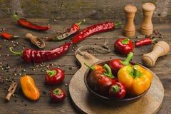 Variedade de pimentas em um fundo de madeira Imagens de Stock Royalty Free