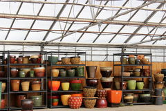 Variedade de plantadores coloridos Foto de Stock Royalty Free