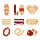 A variedade de salsichas e de ícones da carne ajustou o projeto liso do vetor Salsichas isoladas no vetor branco do estoque do fu Fotografia de Stock Royalty Free
