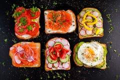 Variedade de sanduíches do brinde do vegetariano com salmões, raddish, tomates, pepino, abacate, ovo frito e pimenta doce Imagens de Stock