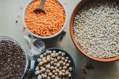 Variedade de sementes do feijão em uma bacia No fundo rústico Imagens de Stock Royalty Free