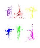 Variedade de splatters da pintura ilustração stock