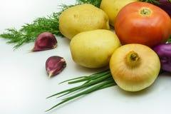 Variedade de vegetais crus frescos no fundo branco A seleção inclui a batata, o tomate, a cebola verde, o alho e o aneto Fotos de Stock