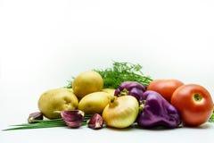 Variedade de vegetais crus frescos no fundo branco A seleção inclui a batata, o tomate, a cebola verde, a pimenta, o alho e o ane Imagens de Stock