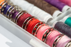 Variedade do carretel do algodão Fotografia de Stock