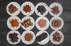 Variedade do chocolate dos ingredientes Fotografia de Stock Royalty Free