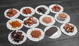 Variedade do chocolate dos ingredientes Foto de Stock Royalty Free