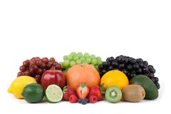 Variedade do fruto no fundo branco imagens de stock