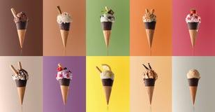 Variedade do gelado natural do fruto em um teste padrão Foto de Stock Royalty Free