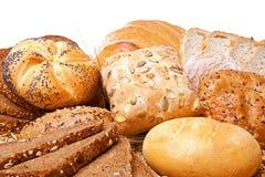 Variedade do pão cozido sobre o branco Fotos de Stock Royalty Free