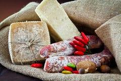 Variedade do queijo e do salami Imagem de Stock Royalty Free
