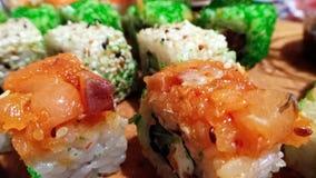 Variedade do sushi de Multycolor Fotografia de Stock Royalty Free