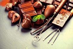 Variedade dos chocolates Chocolate do confeito Imagens de Stock Royalty Free