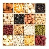 Variedade dos feijões e das lentilhas na colher de madeira com caixa de madeira miliampère Fotografia de Stock Royalty Free