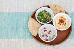 Variedade dos mergulhos: hummus, mergulho do grão-de-bico, salada do taboulé, ganoush do babá e pão liso, pão árabe Fotos de Stock Royalty Free