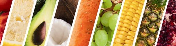 Variedade fresca das frutas e legumes, colagem do panorama imagens de stock