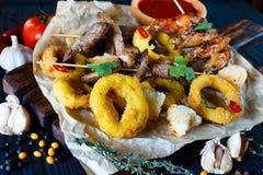 Variedade grelhada das carnes, anéis de cebola nas côdeas de pão ralado, deco dos biscoitos Imagens de Stock Royalty Free