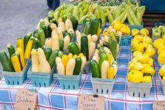 Variedades clasificadas de calabaza de verano y de calabacín en venta en el mercado de un granjero imágenes de archivo libres de regalías