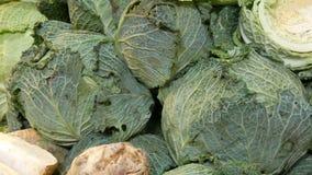 Variedades de col, blanco, Bruselas, bróculi, color en el contador del mercado Comida sana, fibra sana, vegetal almacen de metraje de vídeo