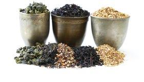 Variedades diferentes de chá seco foto de stock royalty free