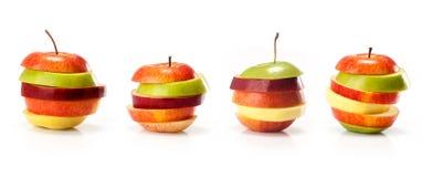 Variedades diferentes de fatias do intp do corte das maçãs fotografia de stock royalty free