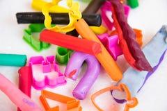 Varieert het spel kleurrijke deeg met vorm van vorm, voor verbeter imagina Royalty-vrije Stock Foto