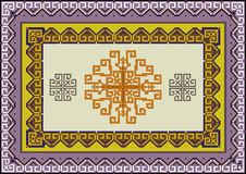Variegate ethnic  pattern for rug.Illustration. Stock Photos