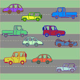 Variegated cars on roads Royalty Free Stock Image