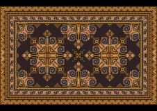 Luxury vintage oriental carpet with dirty orange,yellow, blue and brown shades on black background vector illustration