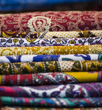 Variegated multi colored fabrics Royalty Free Stock Photo
