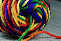 Variegated Yarn. Close-up of skein of brightly colored variegated yarn Royalty Free Stock Photo