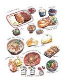 Variery van Japanse voedselhand het schilderen waterverfillustratie royalty-vrije illustratie