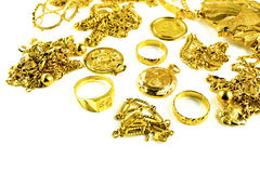 Varies Jewelry. Gold in varies jewelry form on white isolated background Stock Image