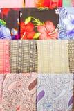 Varies type of Thai silk clothes. At silk shop Royalty Free Stock Photos