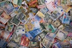 Varietà delle banconote del mondo Fotografia Stock