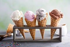 Varietà di coni gelati fotografia stock libera da diritti