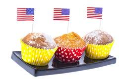 Varietà di dessert dello swiit sulla tavola per il partito del 4 luglio whit Immagini Stock
