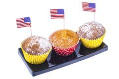 Varietà di dessert dello swiit sulla tavola per il partito del 4 luglio whit Immagini Stock Libere da Diritti