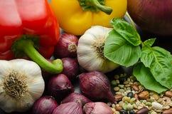 Varietà di fagioli secci di verdure e fotografie stock libere da diritti