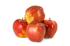 Varietà di fondo principale rosso di bianco dell'isolato delle mele rosse mature P Fotografie Stock Libere da Diritti