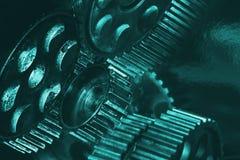 Varietà di ingranaggi verdi cian immagini stock