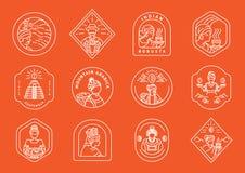 Varietà di linea locale progettazione dell'agricoltore del caffè del distintivo con la linea elemento di varietà circa l'agricolt royalty illustrazione gratis