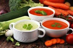 Varietà di minestre crema e di ingredienti delle verdure variopinte per la s Fotografie Stock Libere da Diritti
