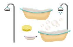 Varietà di oggetti di tempo del bagno Immagini Stock Libere da Diritti