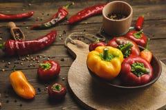 Varietà di peperoni su un fondo di legno Fotografia Stock