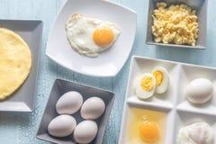 Varietà di piatti dell'uovo Immagine Stock